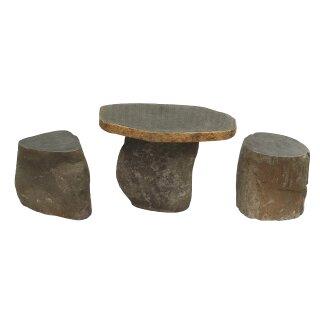Set Tisch mit 2 Hocker, Steinmetzarbeit aus Flussstein