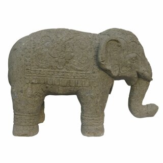 Elephant with elaborate carving, L 100 cm, hand carved from basanite