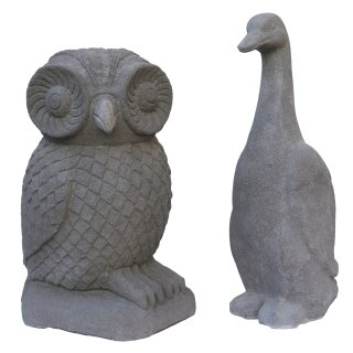 Set stone owl and duck, H 50 / 55 cm, natural concrete finishing