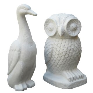 Set stone owl and duck, H 50 / 55 cm, white
